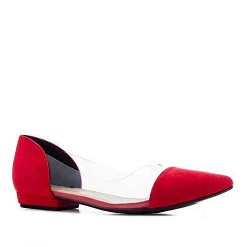 Andres Machado - Elegante Ballerinas für Damen/Mädchen – AM 5455 – Bequeme Loafer aus aus Velourslederimitat mit transparenten Seiten – Rot, EU 45