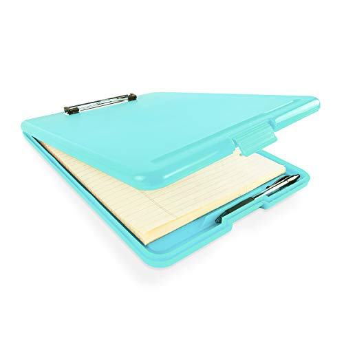 """Slim Plastic Nursing RN Style Coaches Clipboard with Open Foldable Storage, Classroom Teacher College Size (9.5"""" x 13.5"""") (Turquoise)"""