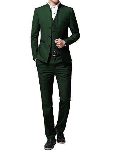 P&G Hombre Traje de Hombre Cuello Alto Traje de 3 Piezas Esmoquin Chaquetas de Fiesta de Boda de Negocios Chaleco y Pantalones