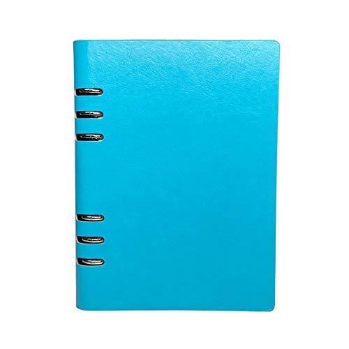 Cuaderno A5, cuaderno recargable de cuero, archivador con anillas, tapa dura, diario de bolsillo, color azul claro