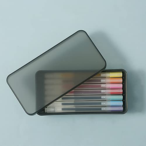 MRBJC Caja de lápices de plástico mate transparente de gran capacidad modular para suministros de arte o manualidades, caja de almacenamiento organizador negro (con 8 bolígrafos) 16,5 x 8,5 x 6 cm