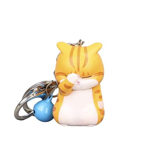 Aiovemc Nette schüchterne Katze Schlüsselanhänger Chubby Kitten Keyring Trinket Tasche Ornament Keys Organizer Mode Tierschmuck Frauen Accessoires