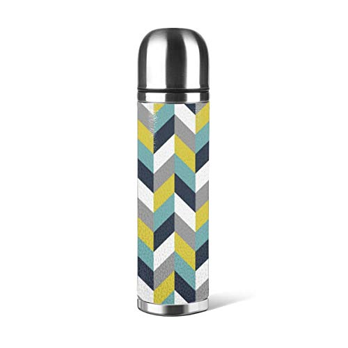 Art Fan-Design Botella de agua de acero inoxidable, amarillo, gris, verde, azul, azul marino, espiga, Chevron Lumbar, aislado al vacío, piel a prueba de fugas, contenedor de viaje de doble pared, termo de 500 ml