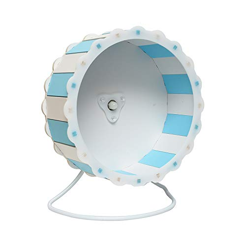 """Petzilla Quiet Hamster Exercise Wheel Silent Spinner, Made of Wood (7.5"""", Blue-White)"""