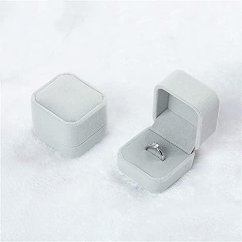 HRTJRS Caja Joyero Caja de envasado de Regalo del Titular de la Caja de joyería del Terciopelo Cuadrado de 2 Piezas Cofres (Color : Gray)