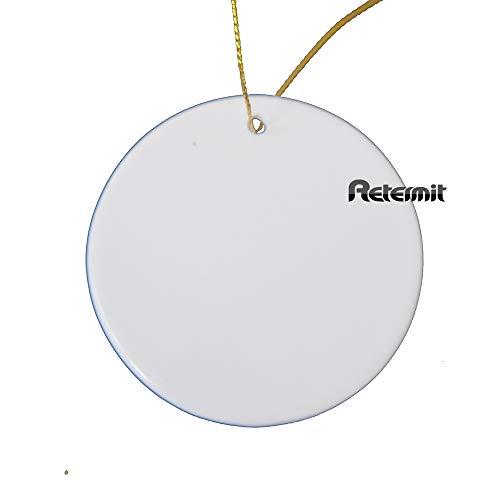 RETERMIT 10 pcs Sublimation Ceramic Ornament Christmas Tree Decor Disc Ornament for Sublimation Sublimation Blanks Blank Ceramic Ornaments (3' Round)