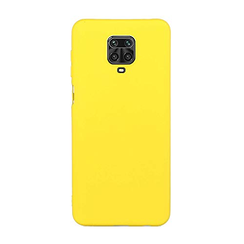 CUZZCASE Funda para Xiaomi Redmi Note 9S/Redmi Note 9 Pro/Poco M2 Pro+{Protector de Pantalla de Vidrio Templado} Carcasa Silicona Suave Gel Rasguño y Resistente Teléfono Móvil Cover-Amarillo