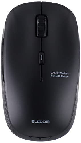 エレコムワイヤレスマウスM-BL21DBSKBK静音抗菌5ボタン3段階ポインタ速度可変ブラック