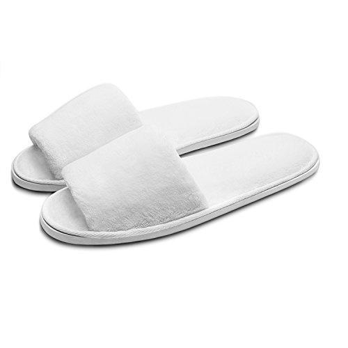 Echoapple Zwei Größen passen die meisten Hausschuhe - Deluxe offene Zehe Hausschuhe für Spa, Party Gäste, Hotel und Reisen, waschbar und Nicht-Einweg, leicht faltbar und tragbar, Weiß, Large