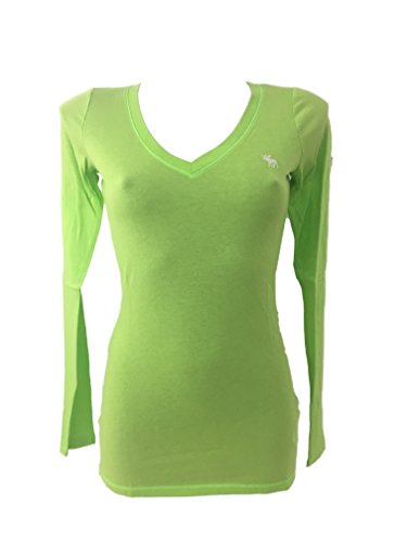 Abercrombie & Fitch - Camiseta de manga larga para mujer Verde XS
