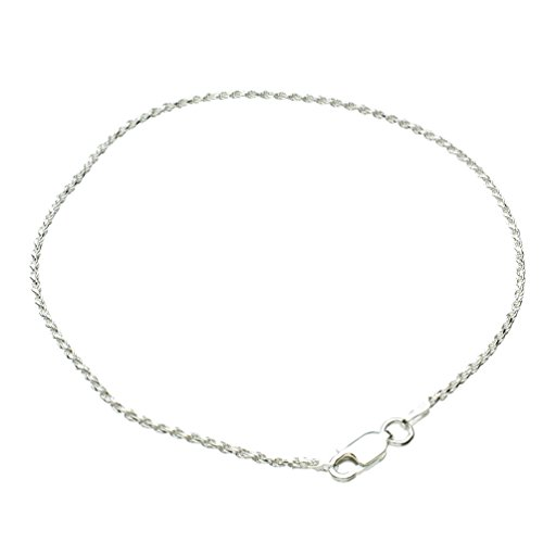 Sterling Silver 1.5mm Diamond-Cut Rope Nickel Free Chain Anklet Italy, 10