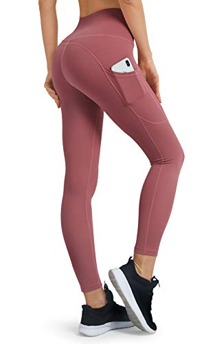 JOYGO Leggings with Pockets for Women, High Waisted Womens Yoga Leggings Tummy Control Leggings Non See Through Workout Pants, Nude-Pink Size M
