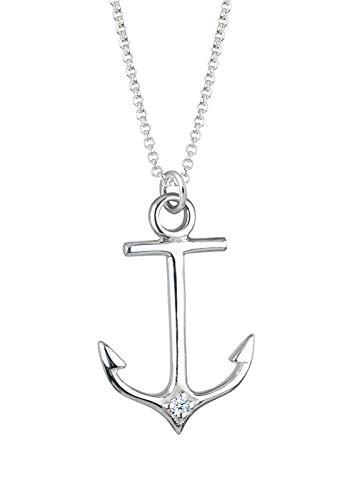 Elli PREMIUM Halskette Damen Halskette Anker Maritim mit Diamant (0.03 ct.) in 925 Sterling Silber