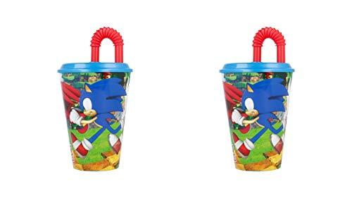 3527; lote de 2 vasos caña Sonic; productos reutilizables; No BPA; capacidad 430 ml