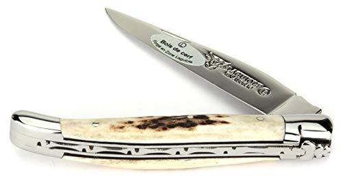 LAGUIOLE en Aubrac Taschenmesser L0211BCIFI 11 cm, Griffschalen Hirschhorn, Klinge 9 cm glänzend, Backen glänzend