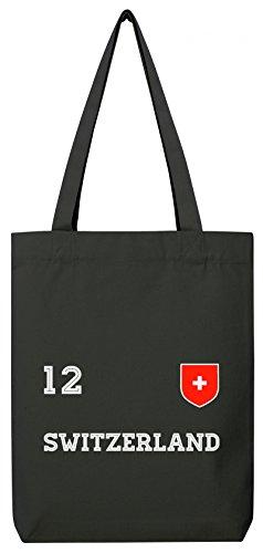 ShirtStreet Swiss Fußball WM Fanfest Gruppen Premium Bio Baumwoll Tote Bag Jutebeutel Stanley Stella Trikot Schweiz, Größe: onesize,Black