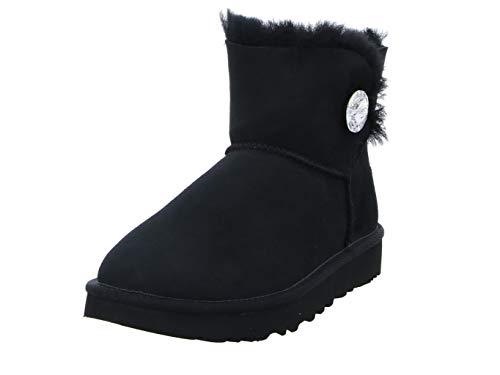 UGG Female Mini Bailey Button Bling Classic Boot, Black, 9 (UK)