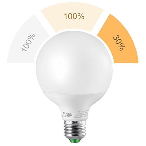 Elrigs 3-in-1 E27 Globe LED Lampe, Dimmen ohne Dimmer, 12W(6000K)-12W(3000K)-3W(2700K), Szenenwechsel, ersetzt 100W-100W-30W, 1100/1100/300-Lumen