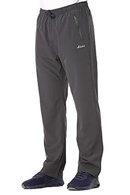 Clothin Men's Stretch Elastic-Waist Drawstring Pants With Front Zipper Pockets,Grey,XL (37-40W31.5L/Regular)
