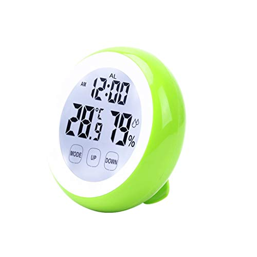 Digitale hygrometer, temperatuurmeter, wekker, touch-toets met achtergrondverlichting Groen