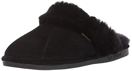 Old Friend womens Scuff slippers, Black, 8 US
