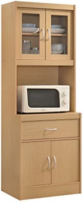 Hodedah Long Standing Kitchen Cabinet with Top Bottom Enclosed Cabinet Space One Drawer Large product image
