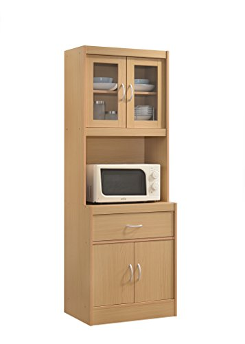 Hodedah Long Standing Kitchen Cabinet with Top & Bottom Enclosed Cabinet Space, One Drawer, Large...