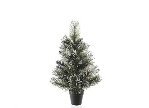 per-aga Mini Albero di Natale Ecologico Abete Innevato con Vaso (90 cm)