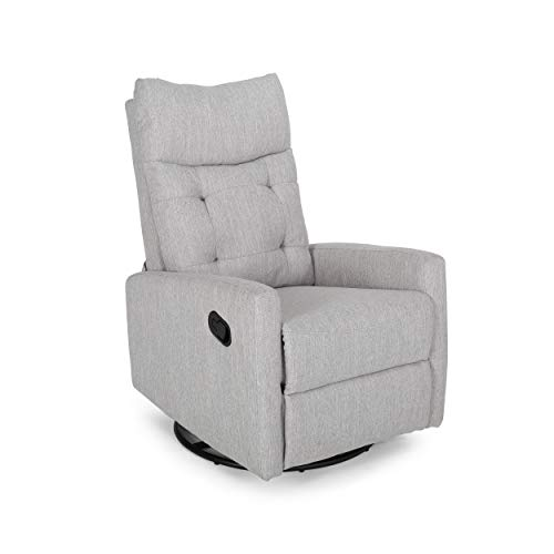 Christopher Knight Home Ishtar Glider Swivel Push Back Nursery Recliner, Light Gray, Black