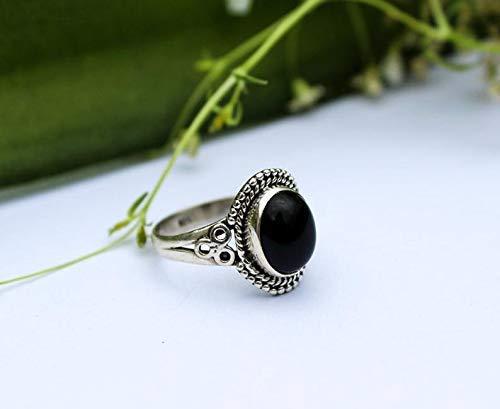 Black Onyx ring Dainty Stacking ring Black Stone ring Sterling Silver ring Boho Black Ring Handmade Jewelry Onyx Jewelry