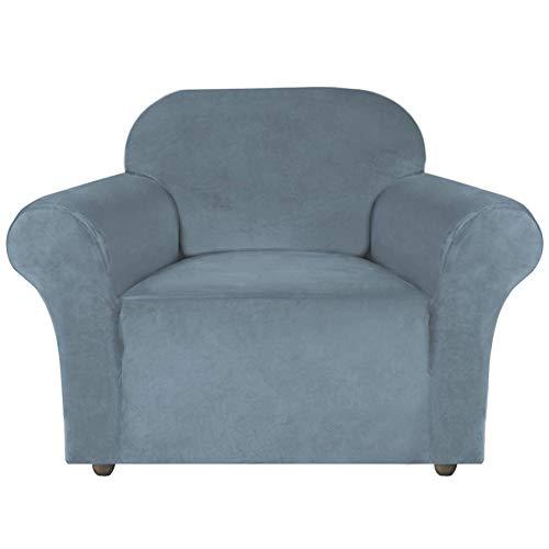 XDKS Copridivano in velluto elasticizzato, realizzato in velluto spesso e confortevole, per 3 cuscini, copridivano con cinghie antiscivolo sotto i mobili (1 posto/sedia, grigio)