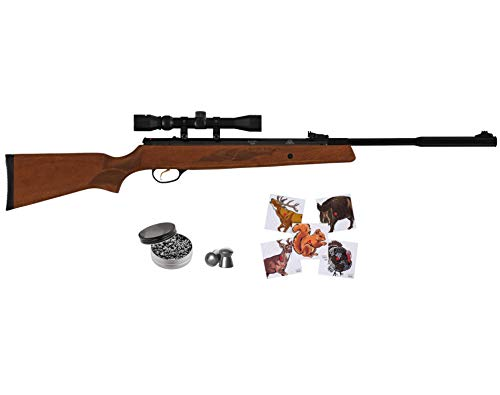 Wearable4U Hatsan MOD 95 Vortex Combo QuietEnergy QE .25 Caliber Air Rifle, Walnut with Included 100x Paper Targets and 150x .25 Cal Pellets Bundle