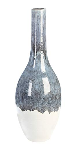 Casablanca - Bodenvase Atlantis Keramik blau/weiß glasiert mit hochwertiger reaktiver Glasur - Europäische Produktion -