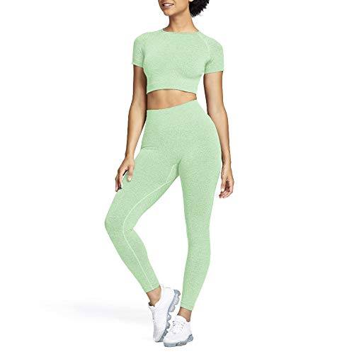 Aoxjox Yoga Outfit for Women Seamless 2 Piece Gym High Waist Workout Leggings with Short Sleeve Crop Top Set (Mint Marl, Large)