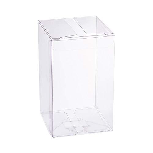 BENECREAT 30 Pack PVC Caja Transparente de Embalaje 6x6x10cm Cajita Plástica con Película Resistente a Raspón Envase de Regalo Contenedor de Dulce Chocolate para Boda Fiesta Cumpleaños