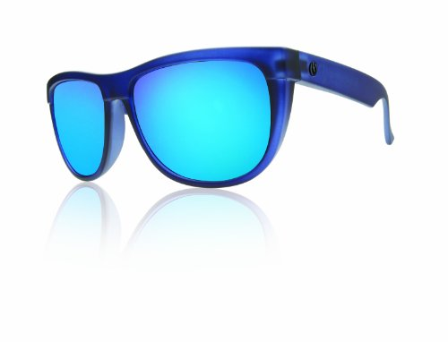 Electric Visual Flipside Wayfarer Sunglasses, Ultra Marine Frame/Grey, Blue & Chrome Lens, one size