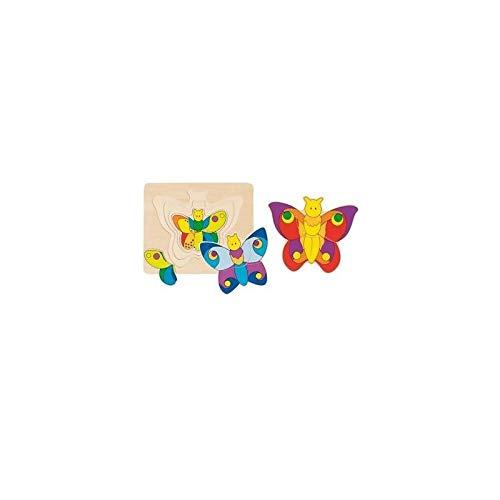 Goki Juego de mesa PUZZLE MULTICAPA MADERA 12 piezas Modelo MARIPOSAS Primera infancia Niños +2 años: Amazon.es: Juguetes y juegos