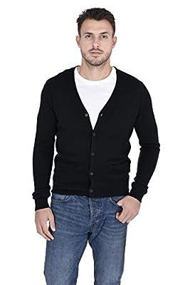 Cashmeren Men's Button Down Cardigan 100% Pure Cashmere Classic Knit V-Neck Sweater (Black, X-Large) by Cashmeren