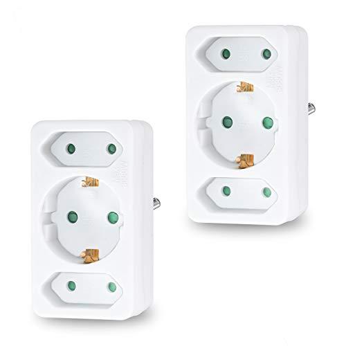 benon 2X Mehrfachstecker Weiß - Steckdosen-Adapter mit Kindersicherung - Doppelstecker 3680W - 3Fach Multistecker - 2X Euro- und 1x Schuko - Mehrfachsteckdose