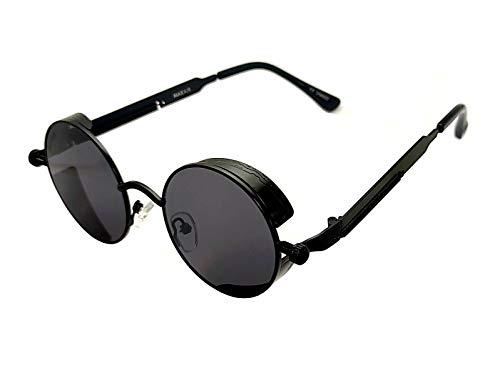 Cv - Gafas de sol mixtas Steampunk negro redondas con ojo de pez plateado