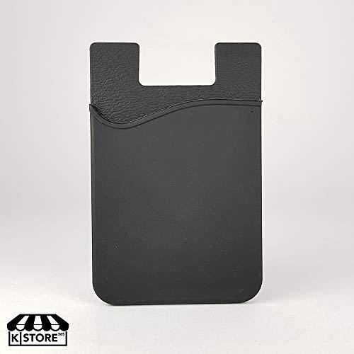 KSTORE365 Tarjetero Porta Tarjetas Adhesivo para Móviles De Silicona Negro