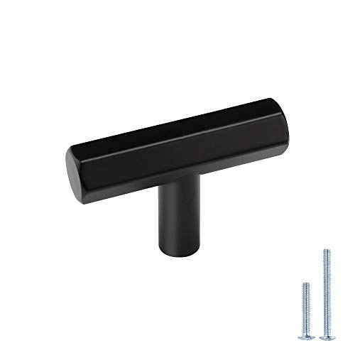 LONTAN Cabinet Knobs Matte Black Kitchen Cabinet Knobs - Modern Black Cabinet Knobs Stainless Steel T Bar Knobs for Bathroom, Single Hole, Pack of 10