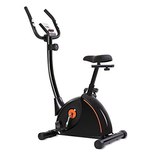 Bicicleta estática estática con asiento acolchado ajustable y ruedas de transporte con monitor de pulso magnético y soporte para tablet para uso doméstico.