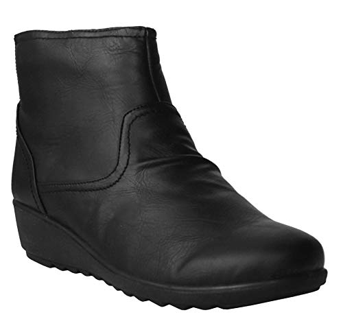 Cushion Walk Womens Ladies Lightweight Zip Up Girls Casual Comfort Ankle Boots UK Sizes 4-8 (4 UK, Black PU)
