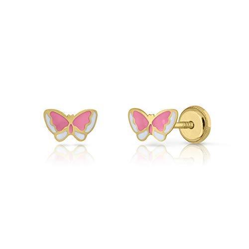 Pendientes oro real, bebe niña o mujer, modelo mariposa esmalte rosa y blanco de calidad. Con cierre de seguridad.