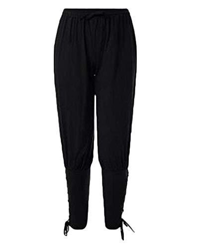 HaiDean Herren Wikinger Hose Piratenhose Modernas Taille Schnürung Elastische Hose Mittelalter Haremshose Männer Mode Vintage Casual Hosen (Color : Schwarz, One Size : 3XL)