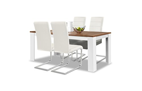 agionda® Esstisch Stuhlset : 1 x Esstisch Toledo Nussbaum/Weiss 160 x 90 cm 4 Freischwinger Weiss