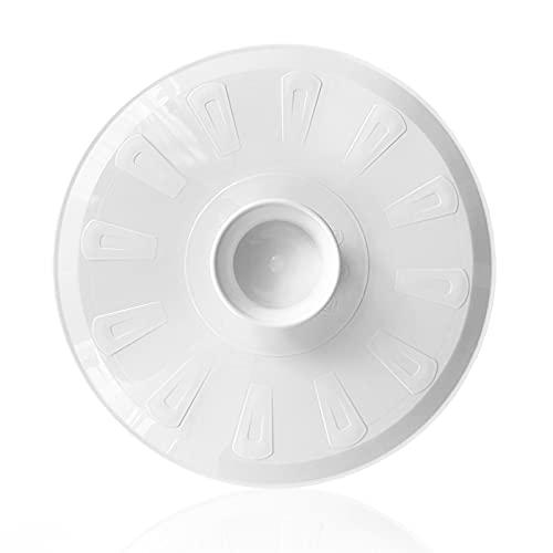 Tapa volteatortillas 26cm, tapa para sartén y para voltear tortilla de patatas, giratortillas de plastico para microondas, frigorífico, congelador, lavavajillas, tapa girar tortilla (25,5, Blanco)
