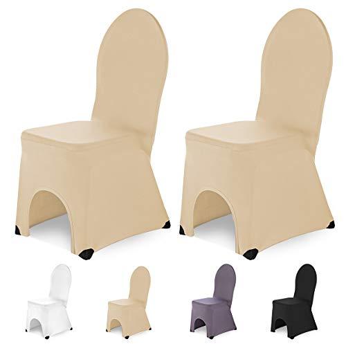 SCHEFFLER-Home Bella 2 Fundas de sillas del Banquete, Estirable Cubiertas, elástica Funda con pie Refuerzos, Champagne