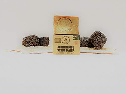 ALEPEO   Jabón de Alepo   Jabón natural con 30% de aceite de laurel para el cuerpo y el cabello   100% Vegano, hecho a mano, sin aceite de palma, sin plástico   ECOCERT COSMOS NATURAL